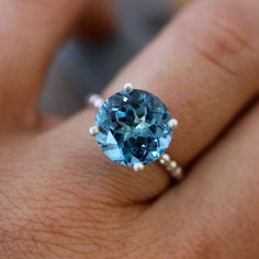 Love this...London Blue Topaz Solitaire in Tarnish Free Recycled Sterling Silver, Solitaire Cocktail Ring Made To Order