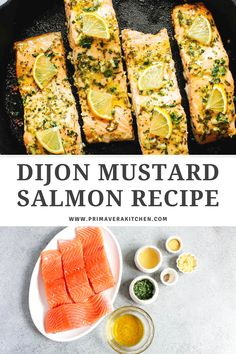 Love a super simple, but flavourful salmon recipe? Dijon mustard salmon is quick, easy, and full of flavor. Make this recipe tonight for a meal that goes from oven to table in just 15 minutes and it only requires few ingredients. #salmonrecipe #bakedsalmon #salmonintheoven Healthy Salmon Recipes, Fish Recipes, Seafood Recipes, Supper Recipes, Healthy Dinner Recipes, Low Carb Recipes, Salmon And Shrimp, Mustard Salmon, Recipe Tonight