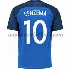 Frankrike 2016 Landslagsdrakt Karim Benzema 10 Kortermet Hjemme Fotballdrakter