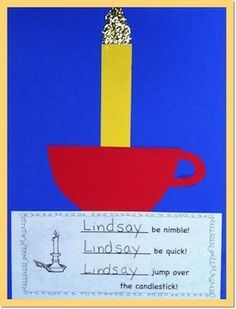 Use as a gross motor activity. Reinforce the nursery rhyme, Jack Be Nimble, with this fun One-and-Done project! The students love substituting their own names for Jack as they jump over a candlestick that we bring in from home - unlit, of course! Nursery Rhymes Kindergarten, Nursery Rhyme Crafts, Nursery Rhyme Theme, Kindergarten Reading, Kindergarten Christmas, Rhyming Preschool, Rhyming Activities, Preschool Themes, Preschool Printables