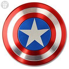 Moveshopgo 3D Shield Finget Spinner Captain America Style Alloy Novelty Toy - Fidget spinner (*Amazon Partner-Link)