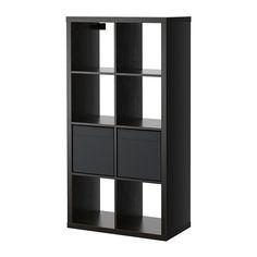 IKEA - KALLAX / DRÖNA, Hylly+2 sisustetta, mustanruskea,