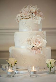 Lace Wedding Cakes Ivory Wedding Cake with Lace Appliques. - A British wedding photographer calls on soft, natural light and a romantic color palette to stage an elegant bridal shoot. Ivory Wedding Cake, Elegant Wedding Cakes, Beautiful Wedding Cakes, Wedding Cake Designs, Mod Wedding, Perfect Wedding, Dream Wedding, Wedding Day, Trendy Wedding