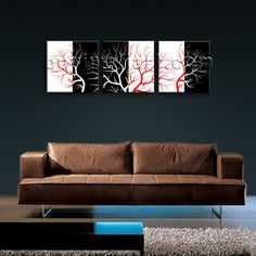 Beautiful 3-panel canvas print on artist canvas with tree in contemporary style. It is available in numerous sizes to fit any size room!