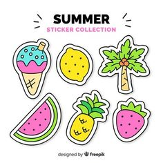 Stickers Kawaii, Cute Stickers, Homemade Stickers, Alphabet Writing, School Labels, Kawaii Doodles, Notes Template, Tumblr Stickers, Food Drawing