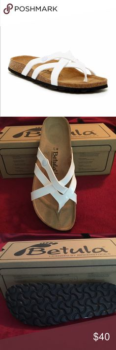Birkenstock Vinja Sandals Authentic brand new in box white leather Betula Birkenstock sandals, size 38 (US size 8). Natural cork molded footbed. Would look great with any outfit! ☀️ Birkenstock Shoes Sandals