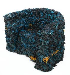 """GAETANO PESCE """"SEAWEED"""" CHAIR signed resin-covered fabric and ebonized wood 31 1/8 in. (79.1 cm) high 1991"""