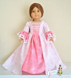 """American Girl Doll Clothes, Felicity, """"Letter to Elizabeth"""", Dress (Gown) and Letter Set One Piece Gown, Letter Set, Letter Writing, Ag Doll Clothes, Gowns With Sleeves, Pink Fabric, American Girl, American Dolls, American History"""
