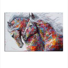 Running Horses Abstract Canvas Painting