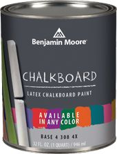 """Benjamin Moore chalkboard paint - now available in any color! I know you can make your own, but really, this way I can get it to match my walls--What a fun thing to do for a rec-room--give everyone chalk for a party, etc."