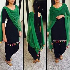 Cotton Plain Black Unstitched Patiala Suit - 1611