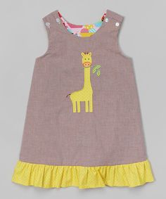 Look at this Brown Gingham Giraffe Reversible A-Line Jumper - Toddler & Girls on #zulily today!