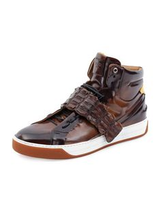 Croc-Strap Wimbeldon High-Top Sneaker, Brown by Fendi at Neiman Marcus.