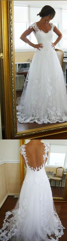 Capped Sleeve Open Back Cheap Wedding Gowns,Lace Appliques Beach Wedding Dress W91 Wedding Gowns, Cheap Wedding Dress, Beach Wedding Dress, Formal Dress, Bridesmaid Dress, Simple Wedding Dress.
