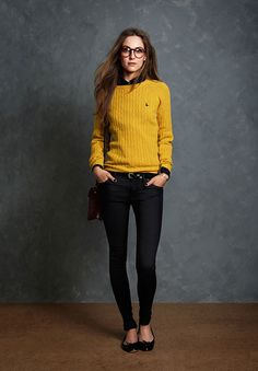 Easy timeless. Knit sweater sits above hip, patent skinny belt with patent ballet flats.  Smart specs