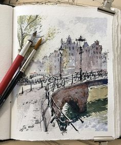 Trying to capture some of the magic of Spring in Amsterdam . . #amsterdam #urbansketchers #urbansketch #usk #sketchwalker #sketchcollector…