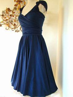 Mavericks Navy Blue Brushed Satin Convertible Wrap Dress