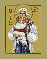 Icon of the Virgin Mary in Ukrainian traditional costume