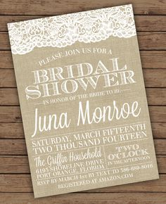 Burlap and Lace Bridal Shower Invitations by OliveJuiceStationery, $20.00