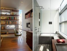 GLUCK+ has re-organized the traditional 'urban townhouse', centralizing the circulation core to provide privacy from the street in this nyc residence. Computer Nook, Study Nook, Office Interiors, Architecture Details, Townhouse, Nyc, Urban, Cabinet, Libraries