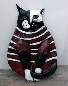 Mac  Ceramic Cat Wall Decor by GinsLilCharacters on Etsy