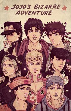 Jojo's Bizzare Adventure - I'm only up to Diamond is Unbreakable but I couldn't wait to draw the Jojos all together. By and PunnySpace on Deviantart Gs 1200 Adventure, Jojo's Adventure, Adventure Aesthetic, Digimon Adventure, Jojos Bizarre Adventure Jotaro, Jojo's Bizarre Adventure Anime, Jojo Bizzare Adventure, Manga Anime, Fanarts Anime