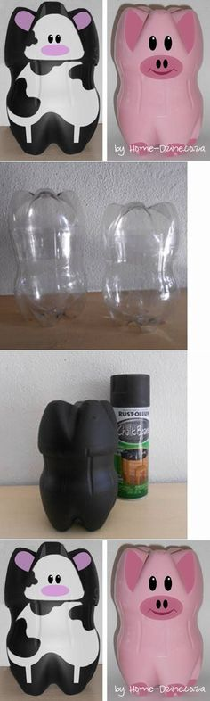 An upcycled bottle becomes a fantastic cow or piggy bank #udderlysmooth #cows #crafts