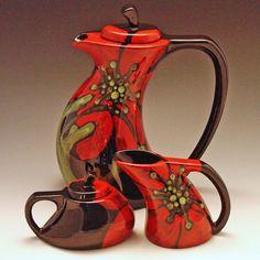 Bold Floral Tea Set - Red Poppy Funky Tea Pot, Cream & Sugar - Colorful…
