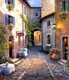 Sung Kim ~ Back Streets Of The Old Town With The Boutiques And Tavernas