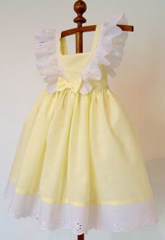 Yellow and White Frilly Lace Dress for Girls Cotton Sun Dress in Size 4 Handmade Ready to Ship Spring Summer Easter Dress Little Dresses, Little Girl Dresses, Flower Girl Dresses, Vintage Girls Dresses, Dress Vintage, Vintage Style, The Dress, Baby Dress, Toddler Dress
