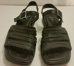 Womens Ecco Size 39 Black Leather 7.5 M US ankle strappy sport sandals