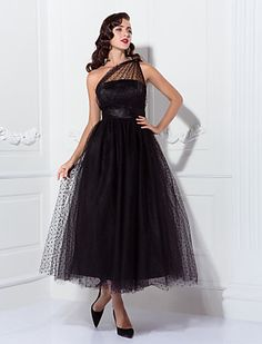 A-line One Shoulder Tea-length Tulle Cocktail/Prom Dress Inspired By Kaley Cuoco At The Emmys - USD $ 79.99