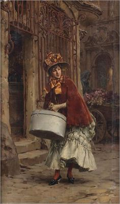 Frederik Hendrik Kaemmerer ~ On Leaving the Milliner ~ (Dutch: 1839-1902)