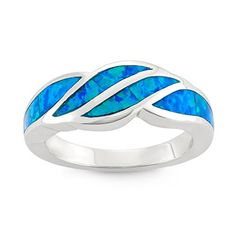 Sterling Silver Created Blue Opal Designed Band Ring (Size 7)
