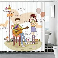 "Angelwings Couples Cotton Polyester Waterproof Mouldproof With Thick Shower Curtain 72"" X 72"""