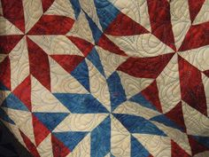 red/blue/white quilt...just hst's! looks a lot like camille roskelley's lucky pattern, without the sashing