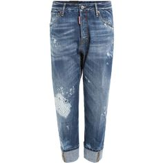 Dsquared2 Distressed Jeans (€535) ❤ liked on Polyvore featuring men's fashion, men's clothing, men's jeans, men wear and blue
