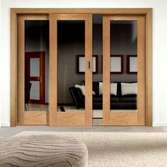 Easi-Slide OP2 Oak Full Pane Sliding Door System in Four Size Widths with Clear Glass. glassdoor #oakdoor