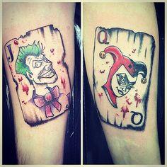 Joker And Harley Tattoo, Joker Face Tattoo, Harley Tattoos, Harley Y Joker, Romantic Couples Tattoos, Meaningful Tattoos For Couples, Cute Couple Tattoos, Couples Tattoo Designs, Minnie Tattoo