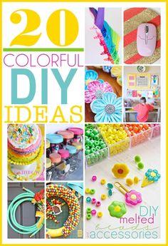 20 COLORFUL Spring DIY Ideas... So fun! #DIY