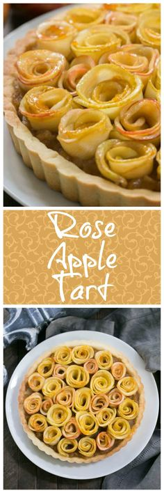 Rose Apple Tart | A buttery crust filled with cinnamon spiced applesauce and topped with apple roses @lizzydo