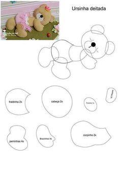 cute baby bear felt pattern, would look lovely on a little girls/boys nappy bag, just sew a brooch pin on the back Bear Felt, Felt Baby, Baby Crafts, Felt Crafts, Fabric Crafts, Felt Patterns, Sewing Patterns, Sewing Crafts, Sewing Projects