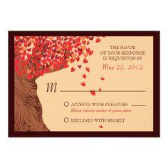 Love Couple Falling Hearts Oak Tree RSVP Card