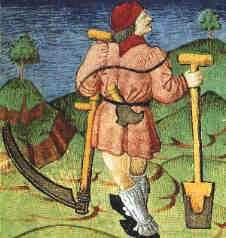 """""""The Labourer.""""  Illustration from the French manuscript Livre des Echecs Moralises [Book of Moral Implications of Chess] - 15th century."""