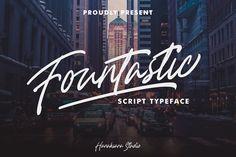 Fountastic Script Typeface by Hanaksara Studio on Lettering, Typography, Alphabet, Script Typeface, Signature Fonts, Wedding Fonts, Brush Font, Handwriting Fonts, Urban
