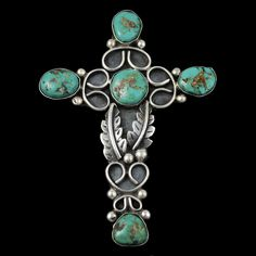 Sterling Silver Turquoise Navajo Native American Cross