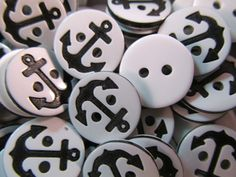20 Anchor Buttons- 13mm- Black Nautical Sewing. Jewelry Making, Crafting