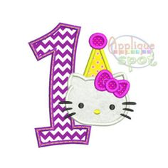 Kitty First 1st Birthday Girl 1 - 4x4 5x7 6x10 Applique Design Embroidery Machine -Instant Download File