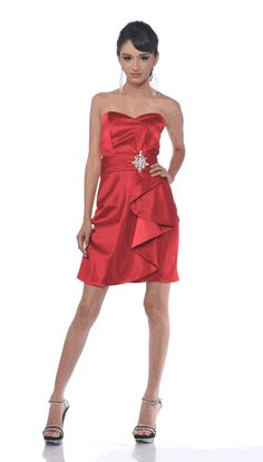 #5088.1C-Red Gown Cocktail Dress Short Strapless Sweetheart Ruffle (Size XS to 3XL-9 Colors)