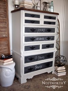 paint the front panel on dresser drawers with chalk paint  to help kids/guests know which drawer holds what